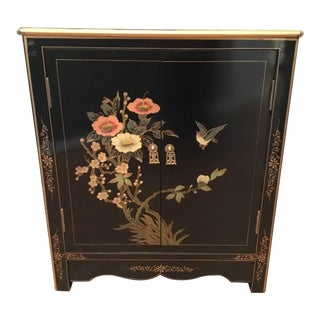 20th Century Oriental Black Lacquer Corner Cabinet For Sale