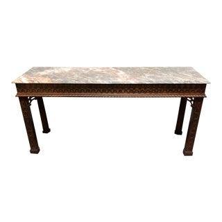 Henredon Chinese Chippendale Carved Mahogany W/ Marble Top Sofa Table For Sale
