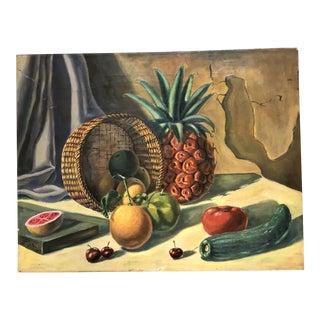 Vintage Original Still Life Painting Cuban Label For Sale