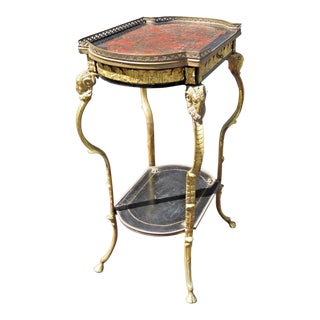 Antique Brass Rams Head Directoire Gueridon Side Table W Hoof Feet For Sale