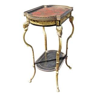 Antique Brass Rams Head Directoire Gueridon Table