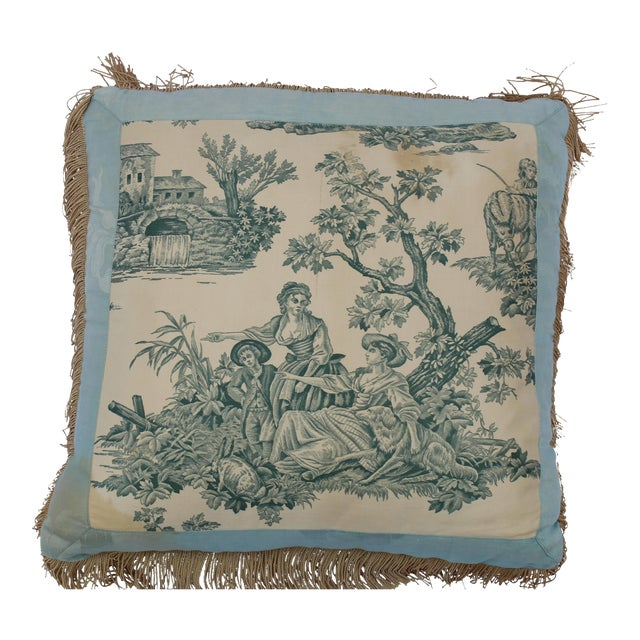 20th Century French Blue Toile Very Soft Down Pillow For Sale