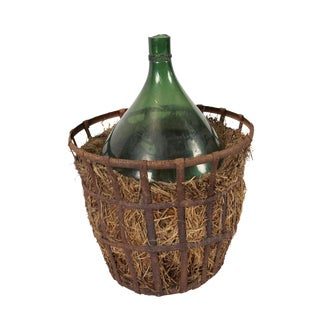 Late 18th Century French Demijohn With Basket For Sale