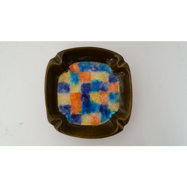 Italian Mid Century Italian Aldo Londi Raymor Fused Glass Pottery Ashtray For Sale - Image 3 of 8