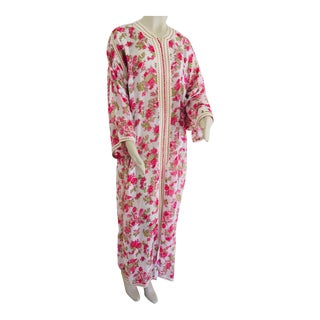 1970 Moroccan Caftan Metallic Pink Floral Silk Brocade Kaftan For Sale