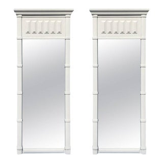 Pair of Hollywood Regency Faux Bamboo Mirrors, in White For Sale