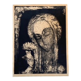 Mid-Century Modern 1960's Original Lithograph by Indian Artist Lemuel Patole For Sale