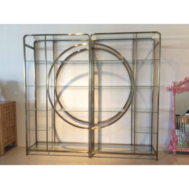 Design Institute of America Milo Baughman Vintage Brass Etagere Shelves - A Pair - Image 9 of 11