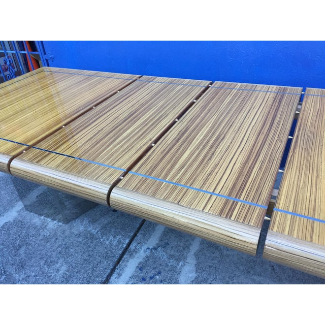 Tan Modernist Zebrawood & Chrome Dining Table For Sale - Image 8 of 11