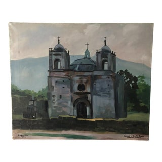 Vintage Oaxaca Mexico Church Painting For Sale