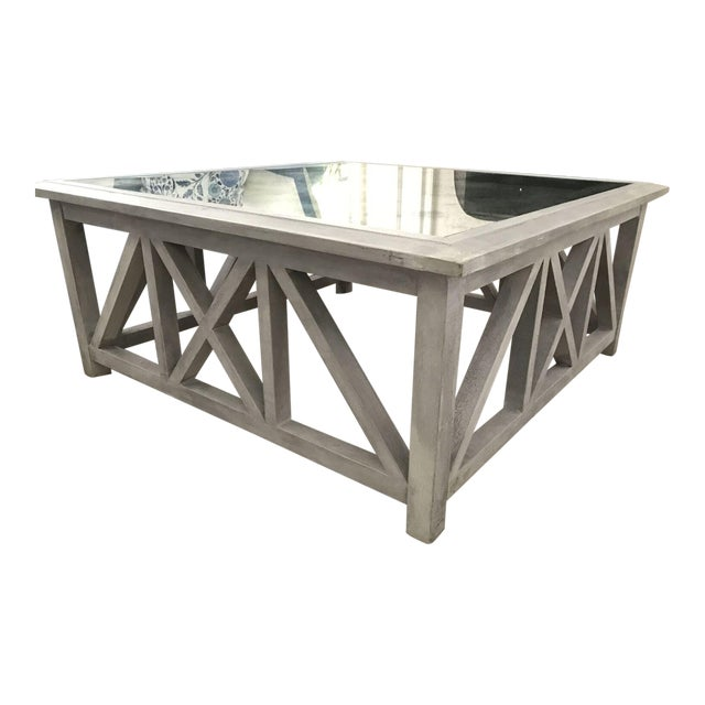 X Base Mirrored Top Wood Coffee Table - Image 1 of 8