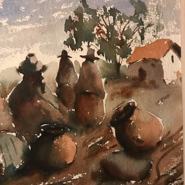 Vintage Peruvian Watercolor Painting For Sale In San Francisco - Image 6 of 8