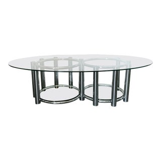 1970s Two Tier Oval Coffee Table For Sale