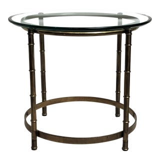 1960s Chinoiserie Brass & Glass Side Table For Sale