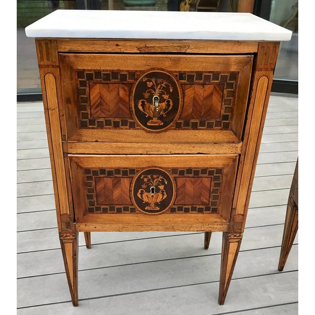 Period 18th Century Italian Neoclassical Commodes --Urn and Flower inlay --Walnut, Applewood, Pearwood --Original Legs and...