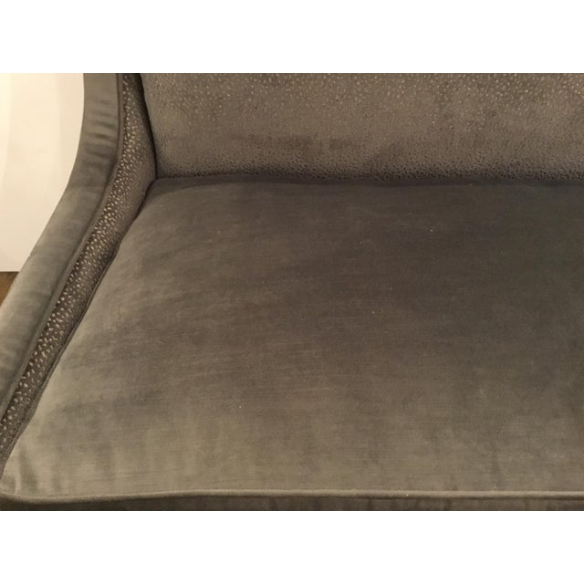 Modern Caracole Gray Velvet Settee or Banquet Bench Prototype For Sale - Image 3 of 7
