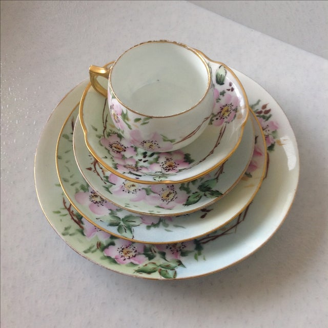Pink Antique Wild Rose Bavaria Porcelain Dishes - S/29 For Sale - Image 8 of 9