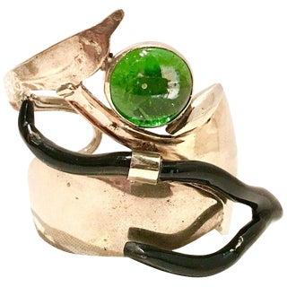 20th Century Silver Spoon Glass & Faux Coral Studio Cuff Bracelet For Sale