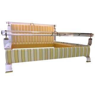 MAGNIFICENT CHARLES HOLLIS JONES LUCITE AND BRASS UPHOLSTERED BED