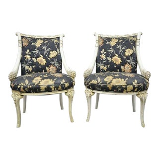 1940s Vintage French Hollywood Regency Carved Cornucopia Chairs- A Pair For Sale