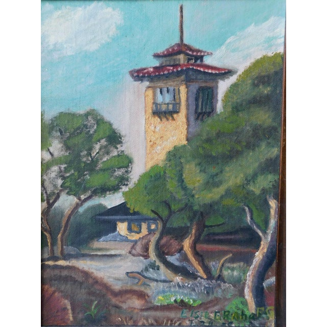 1950s 1950s Spanish Colonial Scene Oil Painting by Elsie Graham, Framed For Sale - Image 5 of 8
