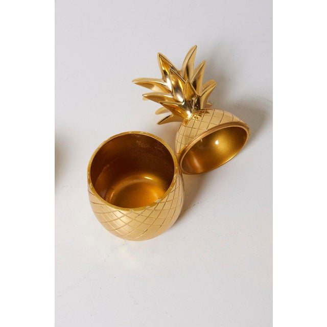 Set of 3 Brass Pineapple Ice Buckets or Candy Boxes For Sale - Image 6 of 9