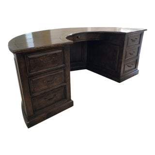 Inlaid Plank Top Semi-Circular Desk