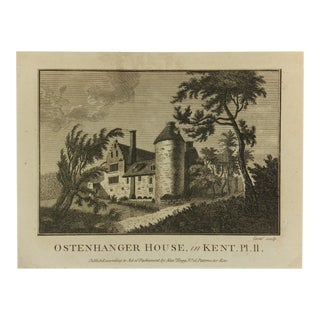 Antique Engraving - Kent English Manor, C. 1790