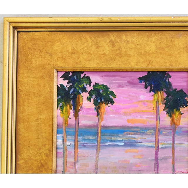 Americana Juan Pepe Guzman Ventura Seascape Landscape W/ Palm Trees & Sunset Oil Painting For Sale - Image 3 of 9