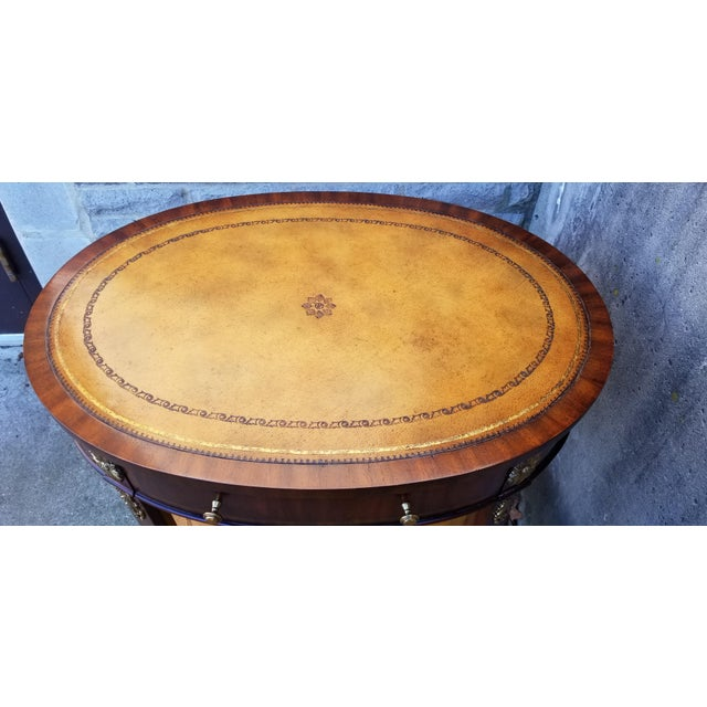 Metal Maitland-Smith Mahogany & Sienna Leather Side Table For Sale - Image 7 of 13