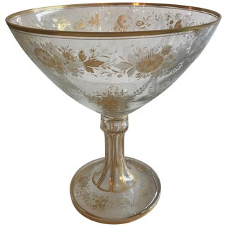 Antique French Baccarat Etched Glass Centerpiece Vessel For Sale