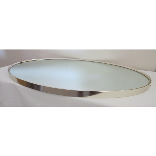 Chrome Mid-Century Modern Turner Mfg. Oval Chrome Mirror For Sale - Image 7 of 13