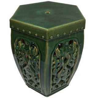 Green Chinese Barrel Garden Stool For Sale