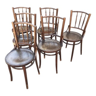 Thonet 1940'S Bistro Wooden Chairs - Set of 6 For Sale
