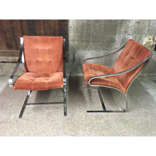 Mid-Century Modern Bert England Brueton Steel Frame Cantilevered Lounge Chairs- a Pair For Sale - Image 3 of 11
