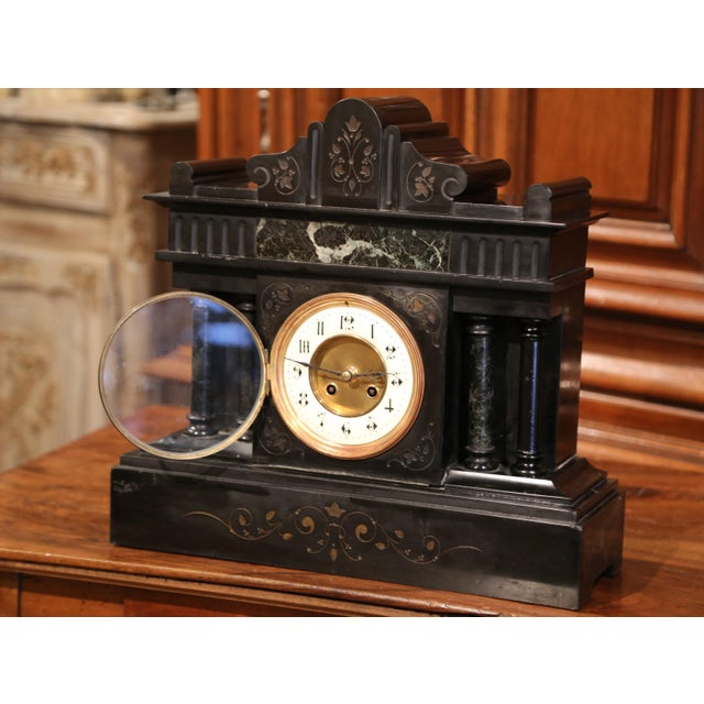 French 19th Century French Napoleon III Black and Green Marble Mantel Clock With Inlay For Sale - Image 3 of 8