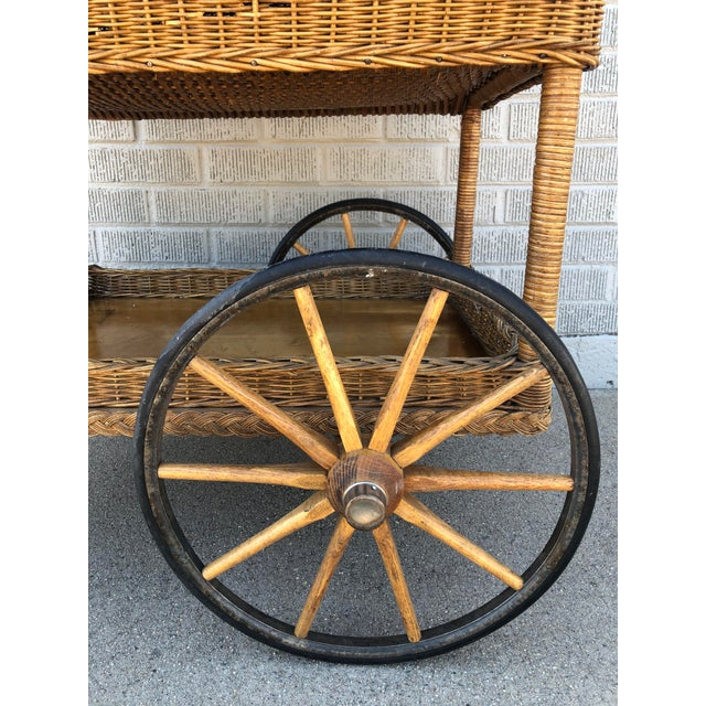 Early 20th Century Early American Antique Wicker Tea Trolley/Bar Cart For Sale - Image 5 of 13