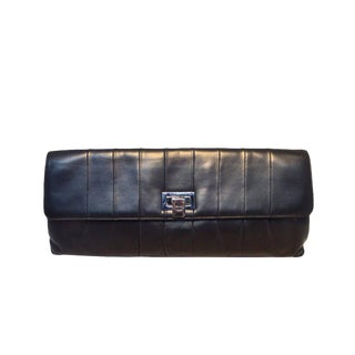 Chanel Black Pleated Lambskin Leather Clutch For Sale