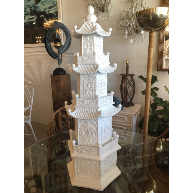 Chinoiserie White Lacquered Pagoda Statue For Sale - Image 11 of 12