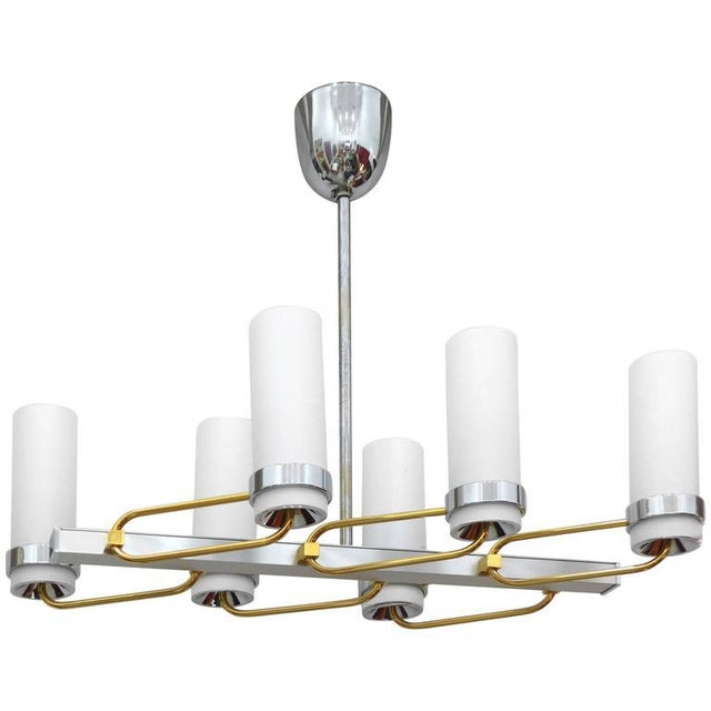 Mid-Century Modern Two-Tone Chandelier with Glass Shades For Sale - Image 9 of 9