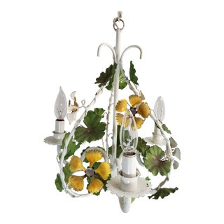 Vintage Yellow Flower Tole Birdcage Petite CHanging 3 Light Pendant handelier For Sale