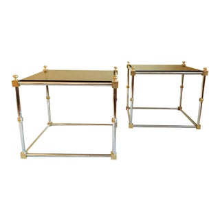 Pair of Chrome & Brass Hollywood Regency Tables, in the Maison Jansen Style For Sale