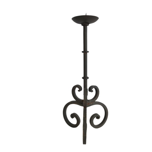 Vintage Rustic Cast Iron Candlestick Candle Holder