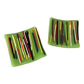 Art Glass Trays - A Pair
