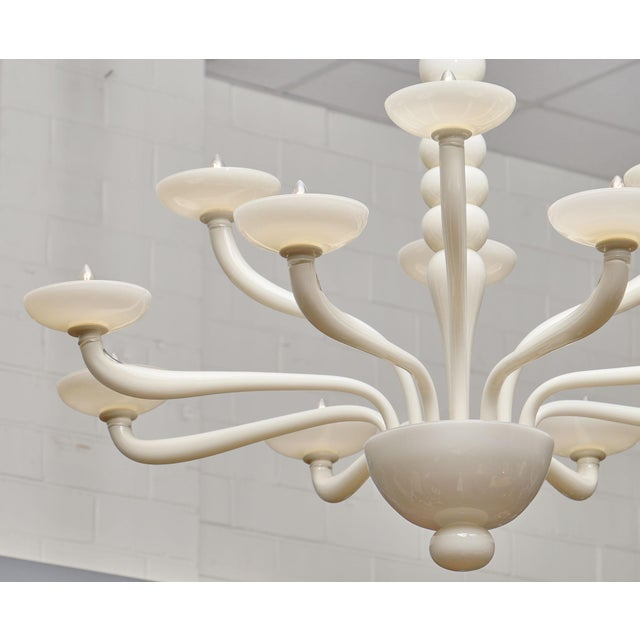 Glass Ivory Murano Glass Chandelier For Sale - Image 7 of 10