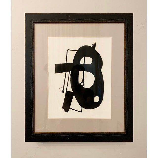 This original black ink painting is inspired by the mid-century masters. Framed in a black wood frame with a gray matte,...