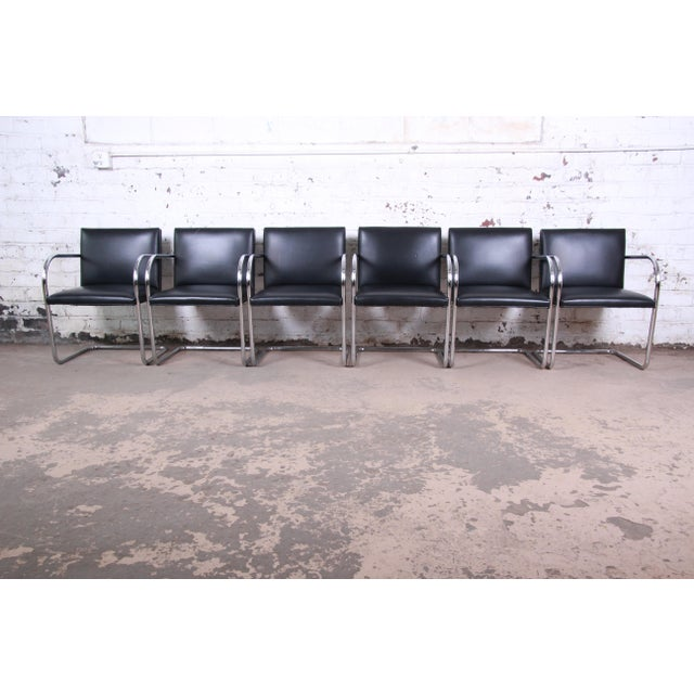 Bauhaus Mies Van Der Rohe for Knoll Black Leather and Chrome Brno Chairs - Set of 6 For Sale - Image 3 of 13