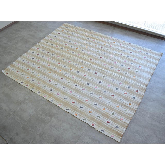 """Islamic Vintage Anatolian Braided Rug Hand Woven Cotton Small Rug Sofreh - 6'8"""" X 8'6"""" For Sale - Image 3 of 11"""