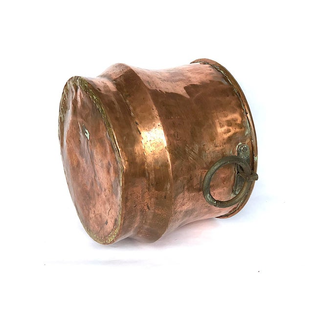 1940s Country Hammered Copper Cache Pot Planter For Sale - Image 9 of 11