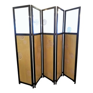 Art Deco Mahogany & Engraved Glass 5-Panel Screen For Sale
